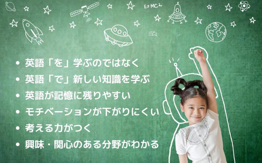 ・英語「を」学ぶのではなく ・英語「で」新しい知識を学ぶ ・英語が記憶に残りやすい ・モチベーションが下がりにくい ・考える力がつく ・興味・関心のある分野がわかる